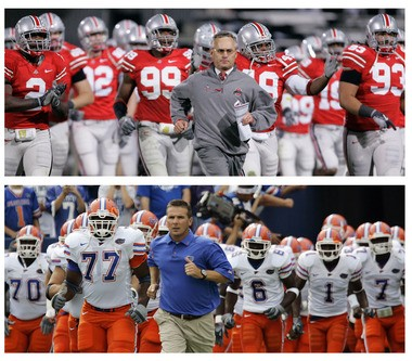 Jim Tressel (top) and Urban Meyer (bottom) met in the national title game after the 2007 season when Meyer and the Florida Gators beat Tressel and the Ohio State Buckeyes.