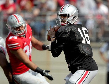 Redshirt freshman QB J.T. Barrett will have multiple options when he throws the ball, but several of the most talented receivers haven't played much.