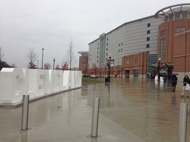 The Cavs played at the Schottenstein Center in Columbus on Monday. At least, I think it was in Columbus.