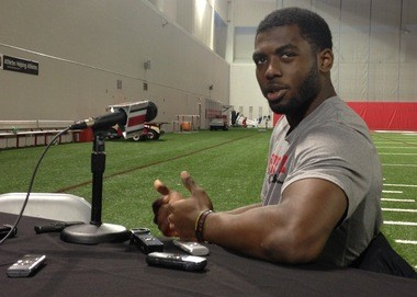 Ohio State quarterback J.T. Barrett talks to the media on Wednesday at the Woody Hayes Athletic Center.