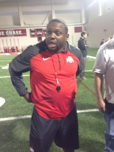 Ohio State running backs coach Tony Alford after practice on Thursday. Alford had just finished his first meeting with the media as a member of Ohio State's staff.