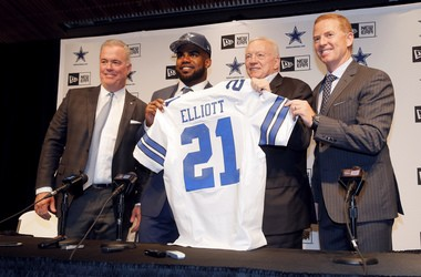 Former Ohio State running back Ezekiel Elliott will wear No. 21 with the Dallas Cowboys. He is one of 14 OSU rookies on NFL rosters.
