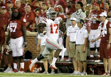 Ohio State linebacker Jerome Baker returns an interception for a touchdown against Oklahoma.