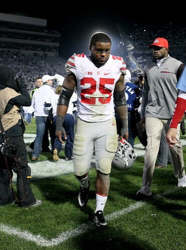 Ohio State running back Mike Weber walks off the field after the Buckeyes' loss at Penn State this season.