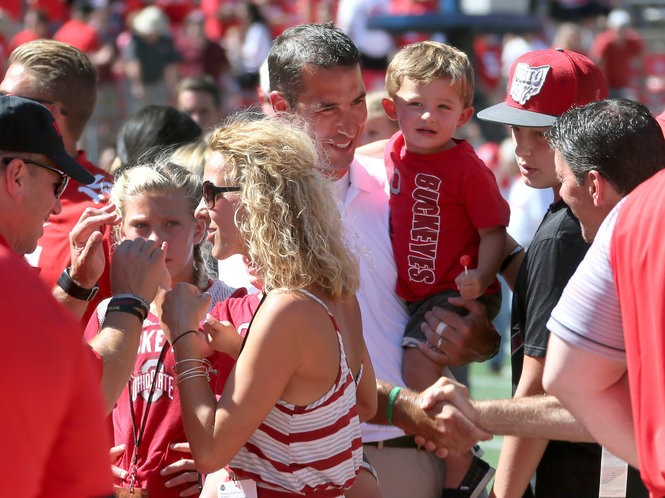Luke Fickell, center, and his family after the Buckeyes beat Bowling Green this year.