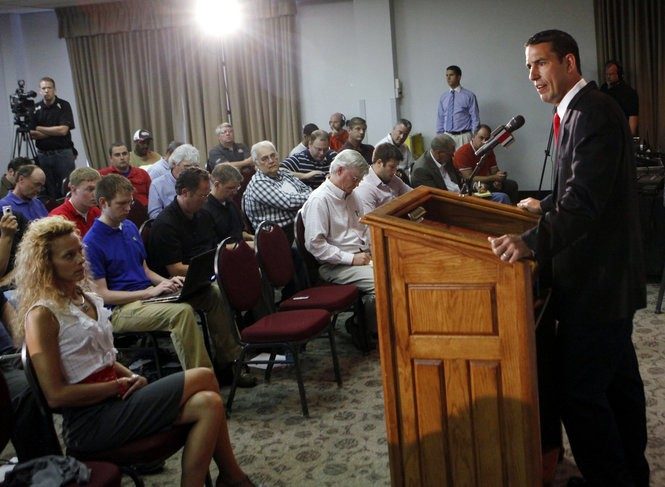 Luke Fickell at his first news conference in the summer of 2011 as Ohio State's interim head coach.