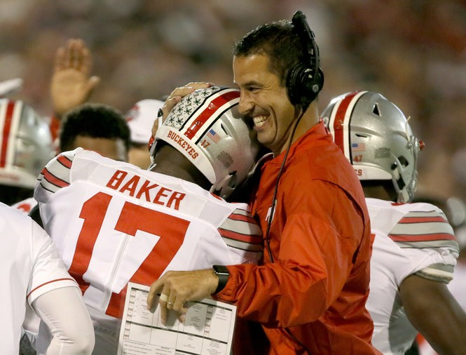 Luke Fickell congratulates Jerome Baker after his interception against Oklahoma this year. The Buckeyes have ranked in the top three in the nation in scoring defense the last two years.