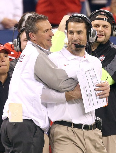 Urban Meyer hugged Luke Fickell as Ohio State shut out Wisconsin 59-0 in the Big Ten Championship in 2014.
