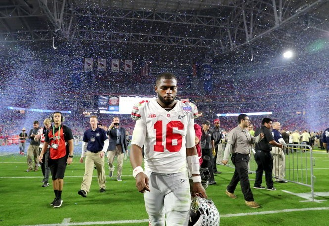 J.T. Barrett walks off the field after Ohio State's 31-0 loss to Clemson in last year's College Football Playoff semifinals.