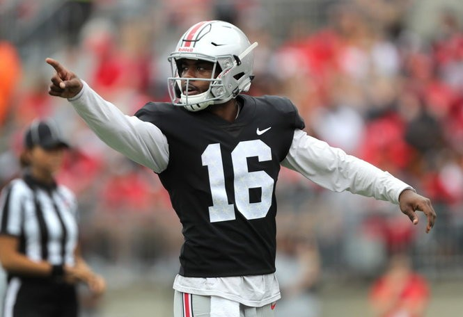 J.T. Barrett last April during his final spring game in Ohio Stadium