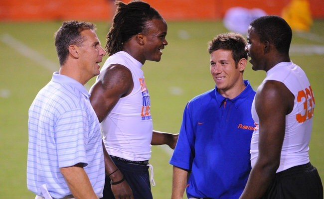 Urban Meyer, left, and Mark Pantoni, right, at the beginning of their professional relationship at Florida.