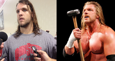 Ohio State sophomore right tackle Taylor Decker, left, and WWE wrestler Triple H, right