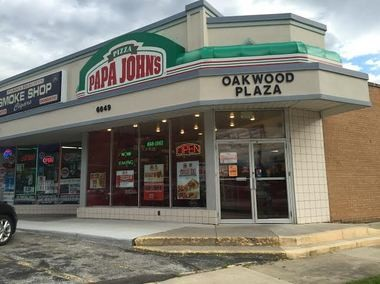 This Papa John's pizza shop, on the 6600 block of Pearl Road in Parma Heights, was robbed at gunpoint Thursday afternoon. Following the robbery, the robber led police on a high-speed chase that resulted in a crash on Interstate 480.