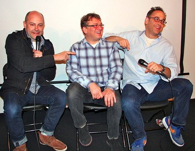 """From left: Rob Corddry, Jim Margolis and David Wain at a screening of """"Newsreaders,"""" a new comedy on the Cartoon Network's nighttime Adult Swim"""