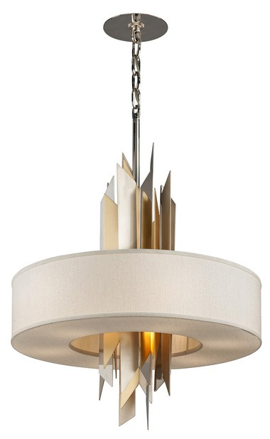 Made of iron and stainless steel, the Modernist from Corbett Lighting features a geometric cluster of vertical panes surrounded by an ivory ice shade.