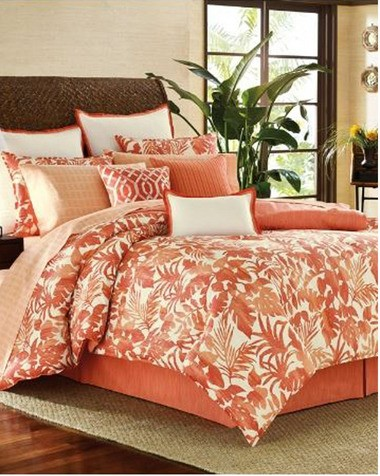 """Tommy Bahama Home offers """"Island Dreaming"""" with its rattan bed and bed linens including a Palma Sola Sheet Set and Catalina comforter and pillow shams."""