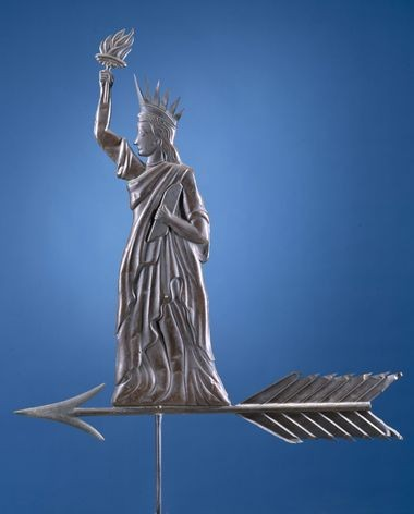 Liberty Enlightening the World is a copper and zinc alloy weathervane made between 1900 and 1910. It is one of the folk art pieces in the exhibit, America's Folk Art, at Colonial Williamsburg.