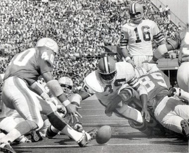 Quarterback Bill Nelsen watches as the Cleveland Browns Bo Scott (35) fumbles on the goal line against Miami during a game later in 1970, on Oct. 25, against Miami.