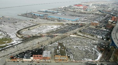 An aerial photo shows part of the waterfront area the city hopes to develop and revitalize to attract citizens.