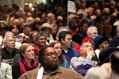 About 1,000 people from Greater Cleveland Congregations listen to speakers arguing for Ohio Medicaid expansion during a January gathering. Greater Cleveland Congregations will canvas in Rocky River, Berea and Solon this week this week to urge people to contact their lawmakers in support of expansion. (Thomas Ondrey/The Plain Dealer)