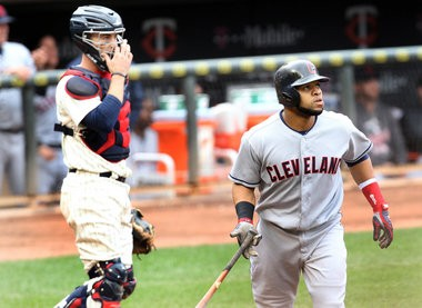 Carlos Santana, tracing one of his 20 homers this year, needs some help in the middle of the lineup.
