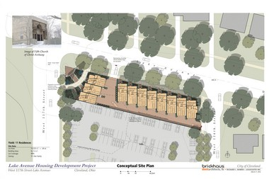 A site plan from Brickhaus Partners, led by developer Andrew Brickman, shows townhouses and green space in place of Fifth Church and empty land along Lake Avenue.