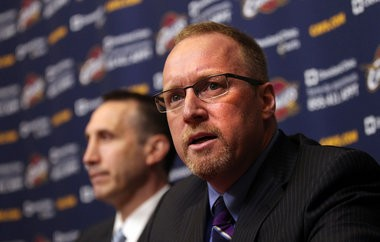 Cleveland Cavaliers GM has a history of paying attention to the development and success of new coach David Blatt (left).