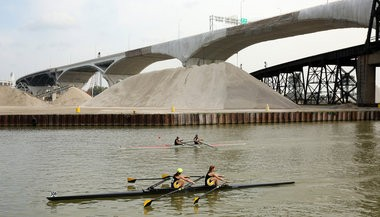 Rowers compete on the Cuyahoga River in September.