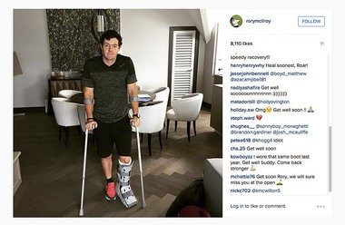 """In this image released Monday July 6, 2015 by world No. 1 golfer Rory Mcilroy shows him as he poses on crutches and with his left leg in a medical support. McIlroy ruptured a ligament in his left ankle while playing soccer less than two weeks before the start of his British Open title defense. The Northern Irish golfer gave no indication how long he would be out in the announcement Monday July 6, 2015 on his Instagram account, only saying that he is """"working hard to get back as soon as I can."""" (Rory McIlroy via AP)"""