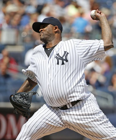 New York Yankees starting pitcher CC Sabathia delivers a pitch in the third inning in a baseball game against the Cleveland Indians at Yankee Stadium in New York, Sunday, Aug. 23, 2015. Sabathia has checked in to an alcohol rehabilitation center and will not pitch for the Yankees in the postseason.