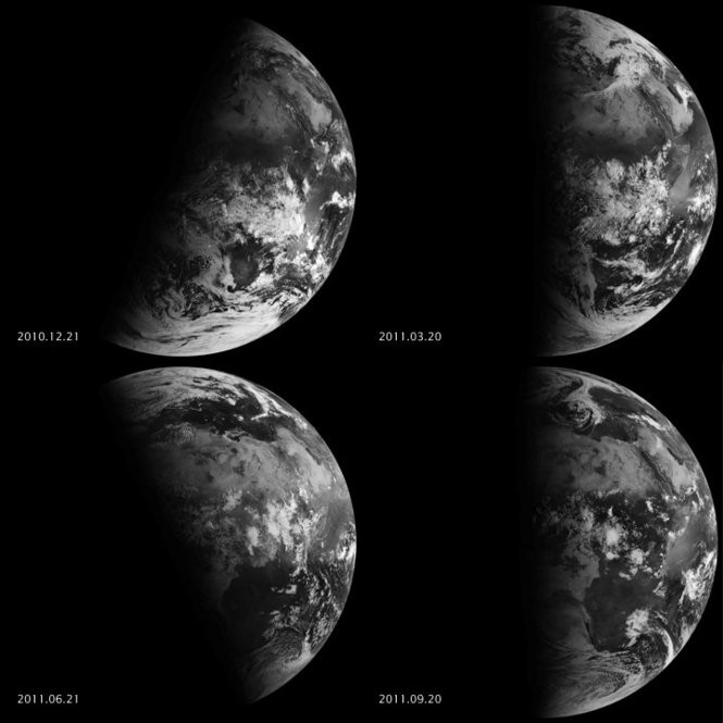 This composite from 2010 and 2011 shows sunlight hitting the earth during the winter solstice (upper left), spring equinox (upper right), summer solstice (lower left) and fall equinox (lower right). Photo courtesy of NASA.