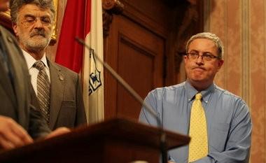 Mayor Frank Jackson, left, and Cleveland Teachers Union President David Quolke announce an agreement on Jackson's 2012 schools plan.