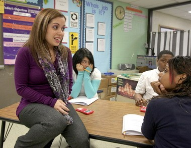 Eighth-grade teacher Isel Sisson in her classroom at Clark Elementary School in Cleveland.