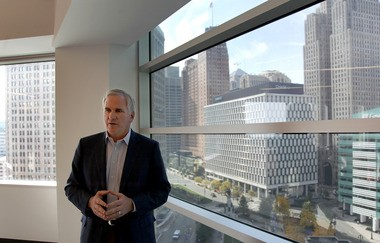 Matt Cullen, second behind Dan Gilbert in charge of the Quicken Loans family of companies, pictured inside the online lender's Detroit headquarters in 2011. The pending purchase of nearby Greektown Casino Hotel is part of Gilbert's effort to revitalize downtown, Cullen says.