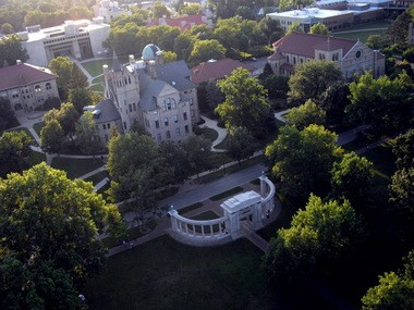 An aerial view of Oberlin College, where students are concerned about a 'No Trespass' list.