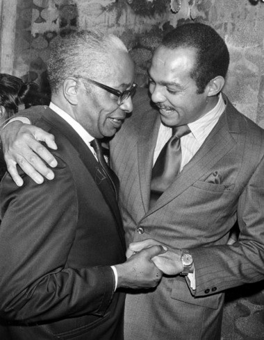 Longtime Cleveland Councilman Charles V. Carr, left, with Carl Stokes in 1969.