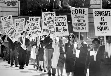 United Freedom Movement members picket the Cleveland Board of Education, September 1963, which led up to the Cleveland schools boycott the following April.