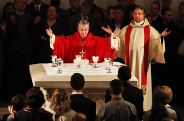 The Rev. Robert Marrone, right, and previous Bishop Anthony Pilla celebrate Mass in 2009 at St. Peter Catholic Church in downtown Cleveland. Bishop Richard Lennon announced the excommunication of Rev. Marrone Tuesday.