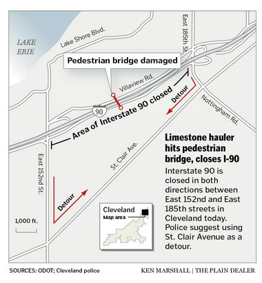I-90 closed through Collinwood until Monday as walkway