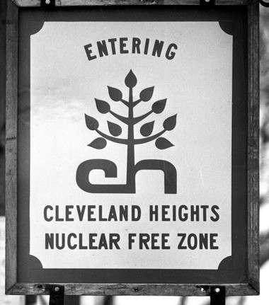 The signs may be gone, but Cleveland Heights remains a Nuclear Free Zone. This photo was taken in 1988.