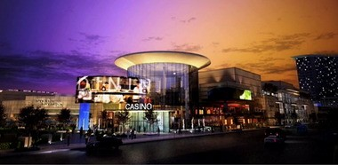 This rendering shows a casino building that Rock Ohio Caesars has proposed for a site overlooking the Cuyahoga River. The image was taken from a video that the casino owners provided in 2010.