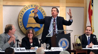 Ohio Gov. John Kasich answers a question during an April 3 appearance at the City Club in Cleveland. Kasich brought his advisers, from left facing the podium: Tim Keen, director of the Office of Budget and Management; Barbara Mattei-Sith, education adviser; John McCarthy, Medicaid director; and Joseph Testa, tax commissioner.