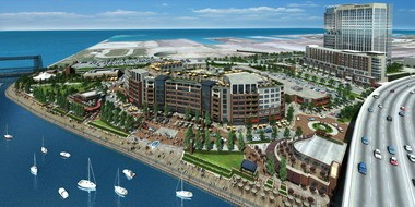 This rendering shows the Flats East Bank development when completed. A loan made with casino taxes will help finance the second phase.