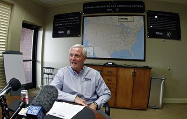 Browns owner Jimmy Haslam speaks with reporters last month about his family's business, Pilot Flying J.