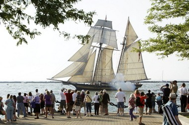 The Pride of Baltimore II, shown here passing Voinovich Park in 2010, returns for the Port of Cleveland 2013 Tall Ships Festival, presented by the Rotary Club of Cleveland.