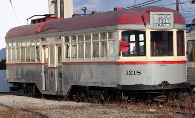 Car No. 1218, a 1914 Cleveland streetcar, was in an RTA rail yard in December, 2009. It is now at an Illinois railway museum.