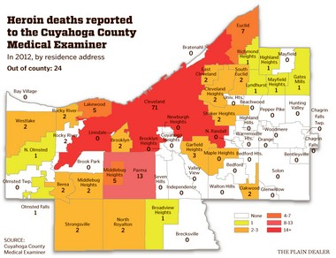 A breakdown of Cuyahoga County's 2012 heroin overdose deaths.