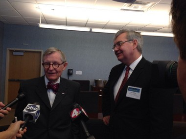 Former Ohio State University President E. Gordon Gee and Ohio Board of Regents Chancellor John Carey answer questions after Gov. John Kasich named Gee to lead an effort to find ways for universities to balance cost, quality and access.