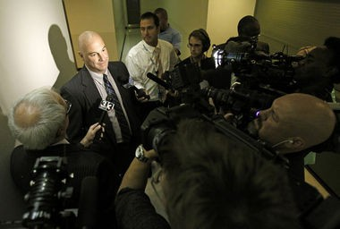 Jeff Follmer, president of the Cleveland Police Patrolmen's Association, speaks to media Oct. 15 after Cleveland officials announce the impending suspensions of 63 officers for their roles in a fatal police chase.
