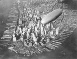 USS Akron cruises over lower Manhattan in the early 1930s